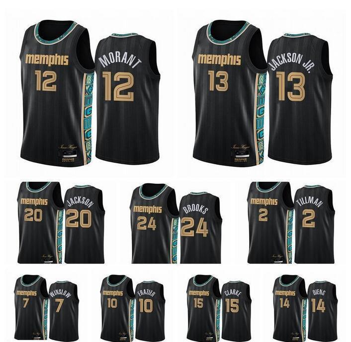 2021 Jersey \ rmemphis \ rgizzlies \ RMEN JA MORANT JAREN JACKSON JR. Dillon Brooks Swingman Şehir Basketbol Formaları Siyah Üniforma