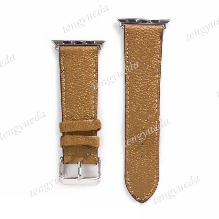 Sangles intelligentes de stylistes de mode pour montres série 1 2 3 4 5 6 Cuir de haute qualité Modèle d'impression en cuir Bandes de courroie de bracelet de luxe