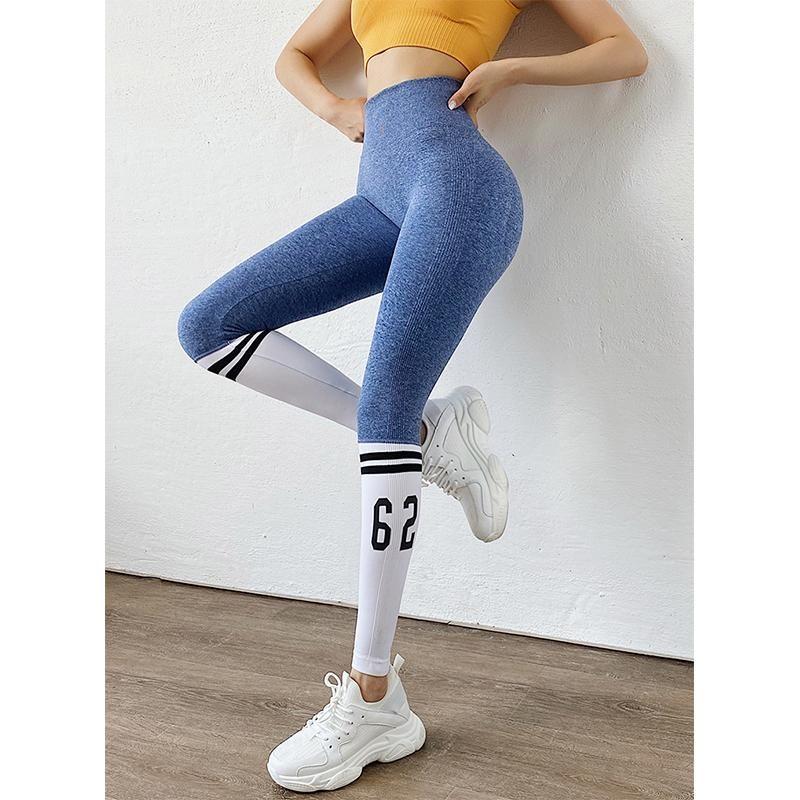 Striped Alphabet Woman Yoga Pants Sports High Waist Full Length Workout Leggings for Fittness Yoga Leggings