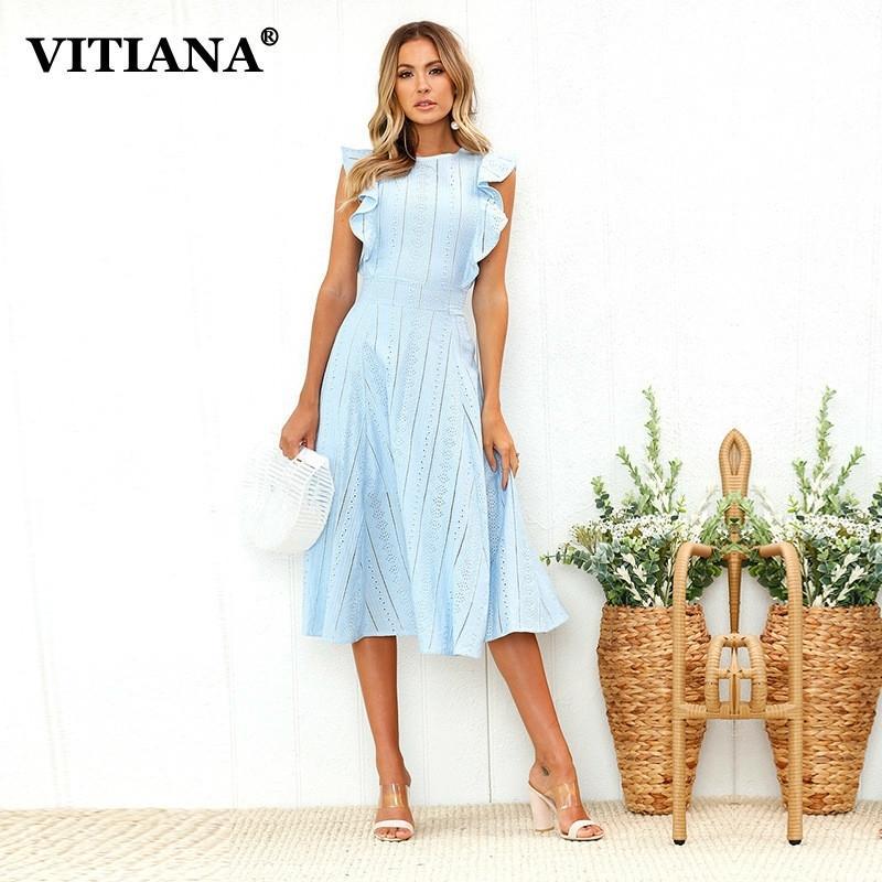 Vitiana Kadınlar Ofis Rahat Maxi Uzun Midi A-Line Elbise Kadın Yaz Beyaz Mavi Katı Dantel Kolsuz Zarif Parti Elbise 210303