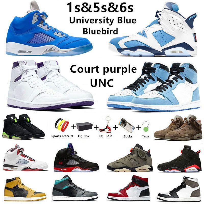 Jumpman 6s UNC 5s Bluebird scarpe da basket uomo 1s Court viola University Blue British Khaki Hyper Royal Pollen 1 uomo donna sneakers sportive con scatola