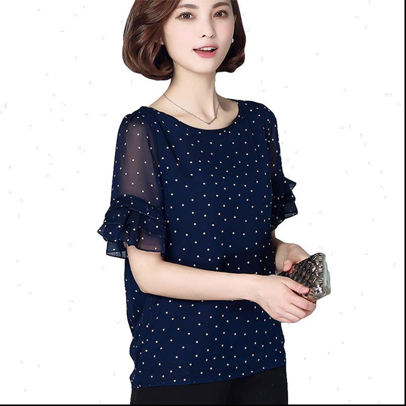 Bayan Şifon Üstleri Ve Bluzlar Gömlek Kısa Kollu Ruffles Mavi Yeni Moda Rahat Tarzı Bluz Gömlek Kadınlar Yeni Artı Boyutu