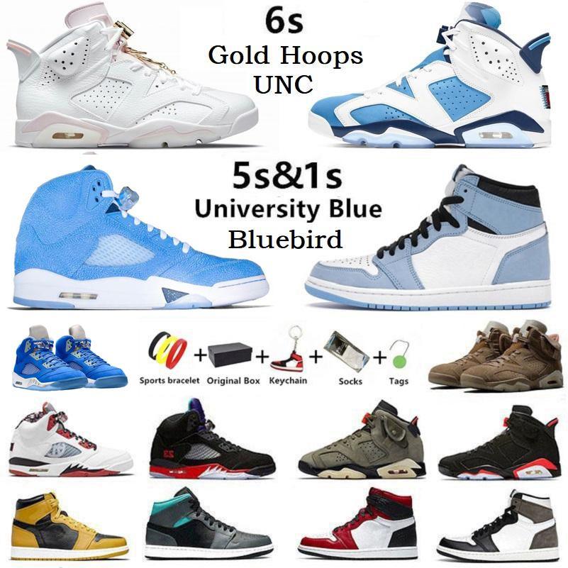 Con caja UNC Gold Hoops Jumpman 6 Bluebird 5s zapatillas de baloncesto para hombre 1s Twist Court purple University Blue Hyper Royal 6s Electric Green hombres zapatillas deportivas