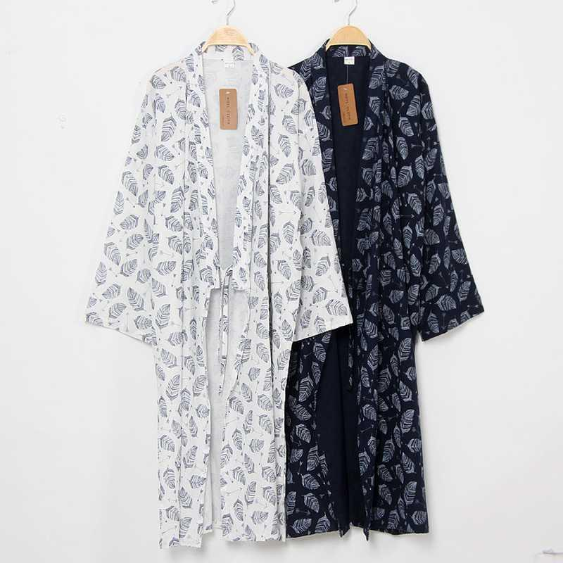 Men's Sleepwear Japanese-Style Kimono Nightgown Bathrobe 100% Cotton And Linen Spring Autumn Wind Large Size Loose Tie Long Thin Yukata