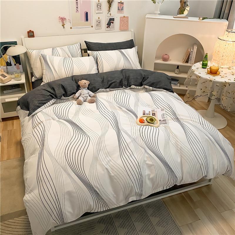 Bettwäsche-Sets stilvolles einfaches druck 1m 1,2m 1,5 m 1,8 m 2m bett baumwolle set bettbezug Bettwäsche Bettwäsche Kissenbezüge Textil