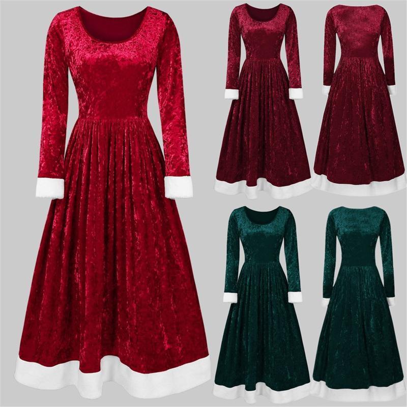 Casual Dresses Women Long Sleeve Velvet Dress Fashion Stretch Bodycon A Midi Elegant Evening Party Club Formal Ladies Classic Vestidos