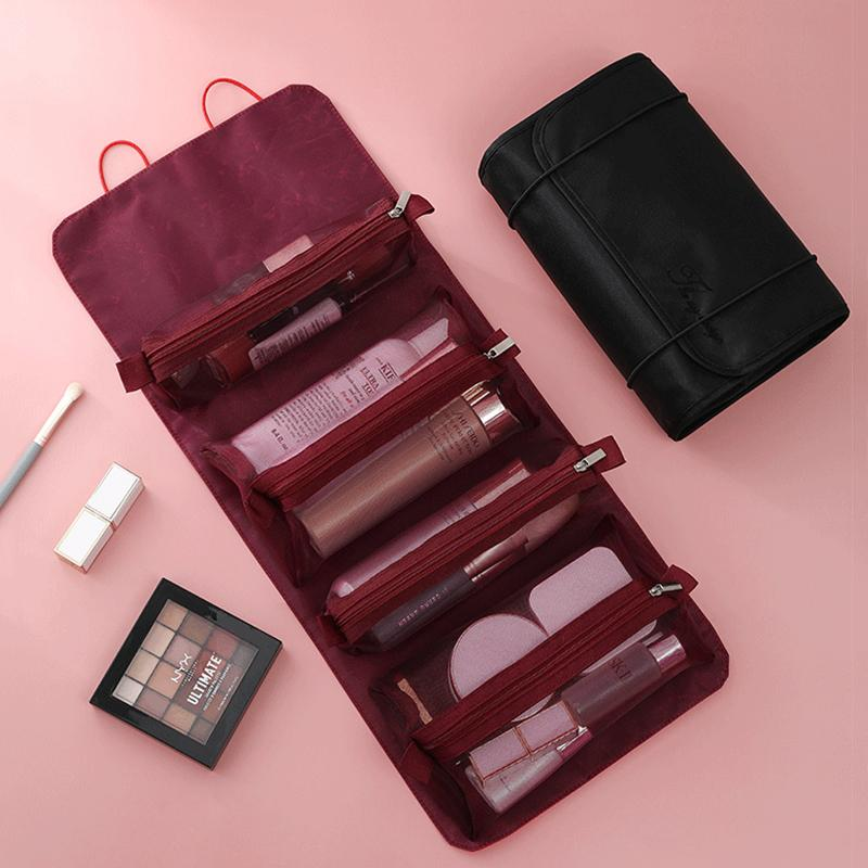 Four in one Detachable Cosmetic Beauty Tools Bag Woman Portable Big Capacity Makeup Organizer folding Travel Mesh Toiletry Pouch 210226