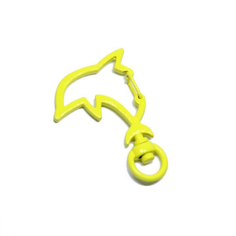 Mezclar el color 10pcs / lote Forma colorida del delfín para llavero de langosta Cierre de langosta ganchos para anillo de llaves CLASP DI JLLVCX