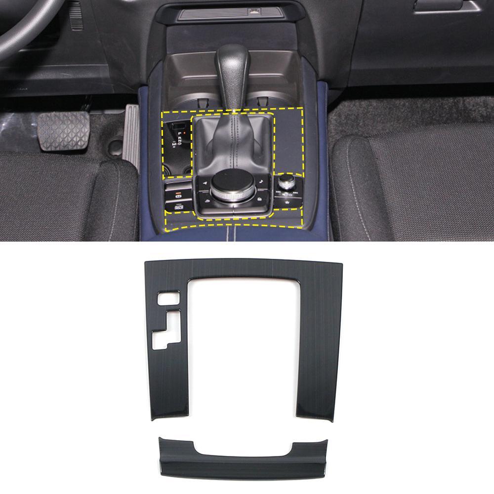 Pour les accessoires de voiture en acier inoxydable Mazda CX-30 Couvercle de décalage de panneau de remise engrenage Cadre de décoration d'intérieur Décoration d'intérieur Moulage de décoration d'intérieur