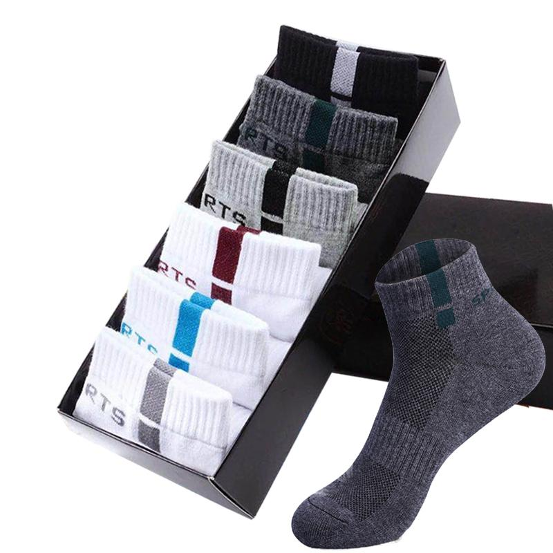 6 Pairs of Men's Ankle Socks Spring Deodorant Cotton Sports Breathable Thin Knit Tennis Shoes New Sox Basketball