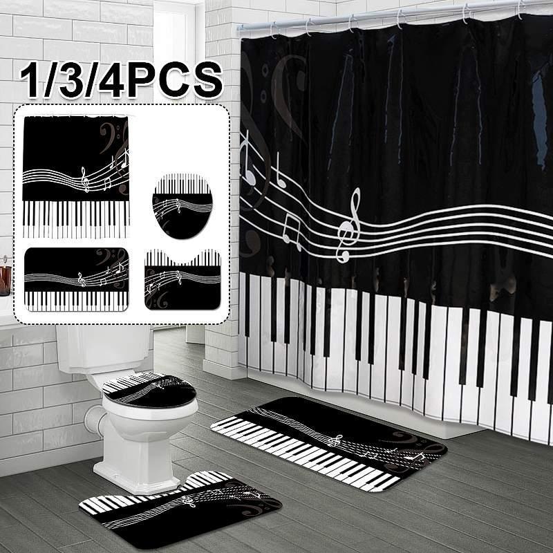 Duschvorhänge 1/3 / 4 stücke Piano Tastatur Badezimmer Set Herz Muster Wasserdichte Vorhang Toilettenabdeckung Matte Rutsch Rutsch Rutsche Home Boden Dekor
