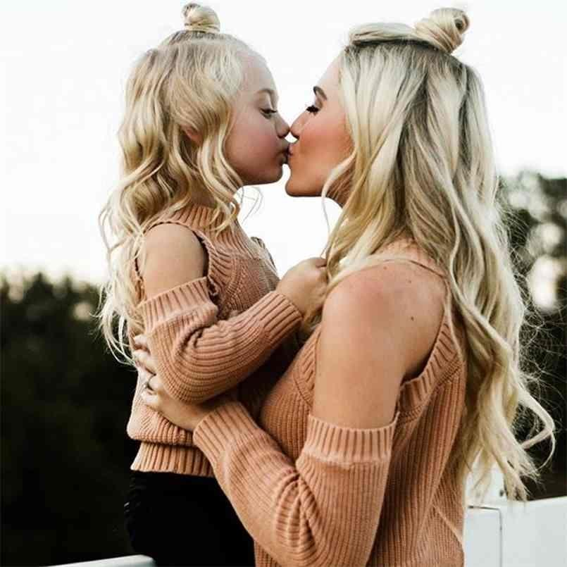Family Matching Mother and Daughter Clothes Outfits Mom Dress Sweater Off Shoulder Long Sleeve Kintwear 210724