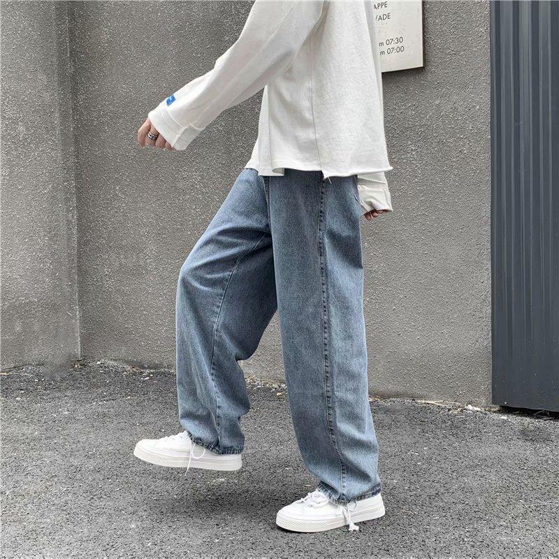 Jeans uomo solido coulisse denim a figura intera lunghezza dritta allentata maschi integrale All-match Trendy punk BAGGY Retro Tempo libero Chic Pantaloni da cowboy