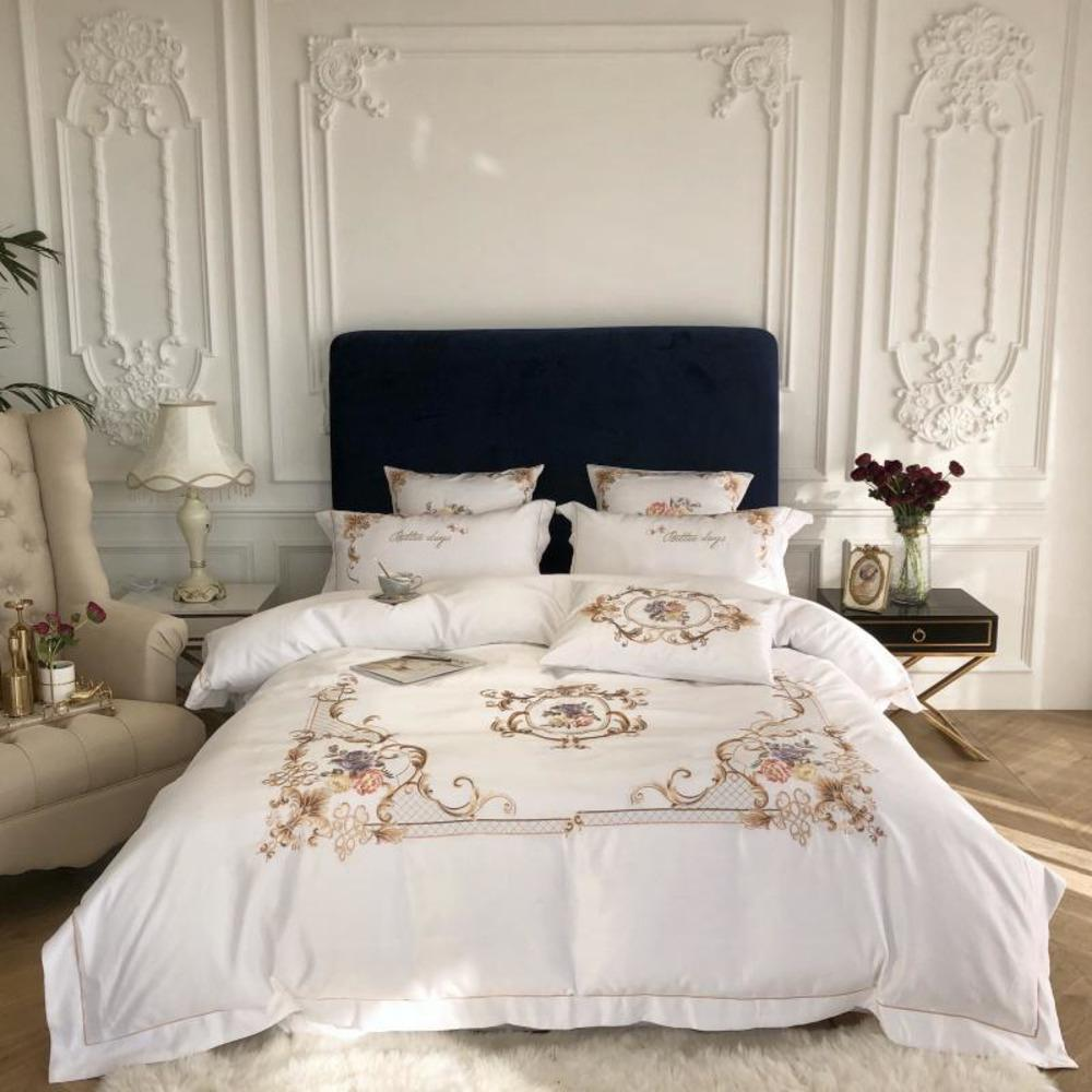 King Queen Size Comforter Cover Flat/Fitted Bed Sheet set Gray White Chic Embroidery 4Pcs Luxury Faux Silk Cotton Bedding Sets C0223
