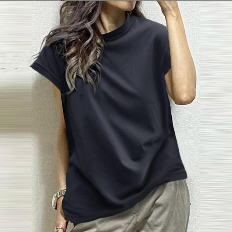 Women's T-Shirt Dark Blue Casual Summer T-shirts Korean Plain 2021 Japan Short Sleeve Tee Tops Femme Fashion