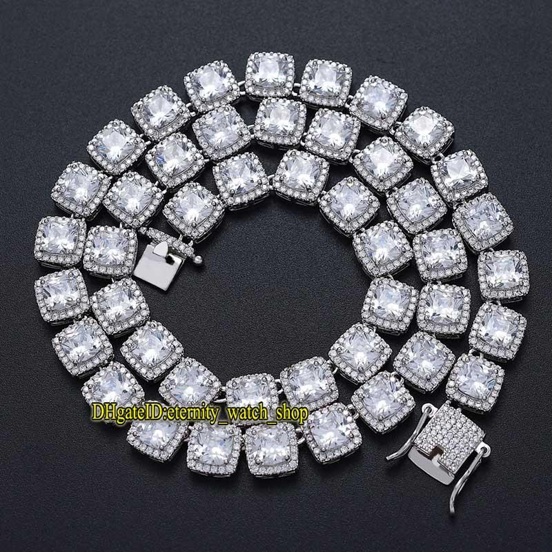 European and American new high-quality hip hop men Iced Out Diamond necklace 10mm square CZ Diamonds necklace Hip Hop Bling Chain eternity