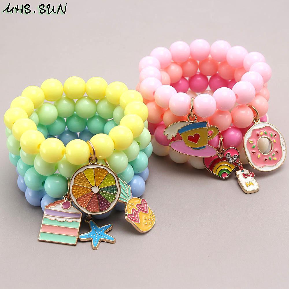 Bebek Bilezik Gökkuşağı Renkli Şeker Renk Çocuklar Takı Kolye Boncuklu Bilezikler 28 Renkler Hayvan Parti Hediye Oyna Pretend Aksesuarları