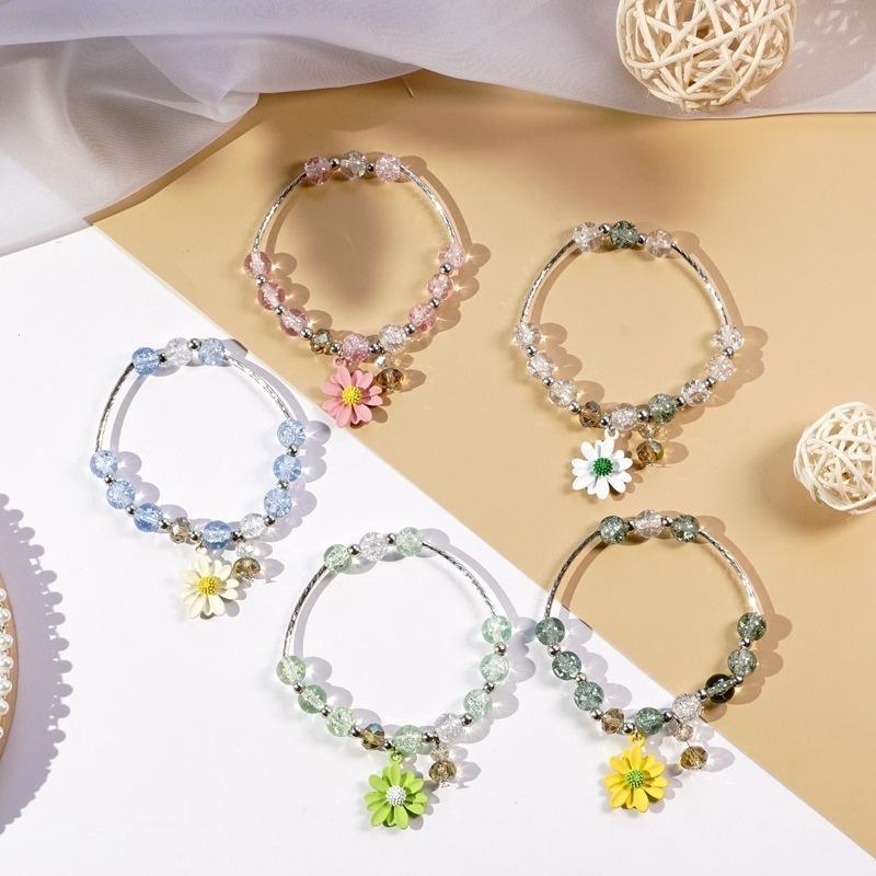 Japon ve Kore Moda Yeni Daisy Bilezik Basit El Takı Boncuklu Papatya Çiçek Kristal Kolye Tek Yüzük Bilezik
