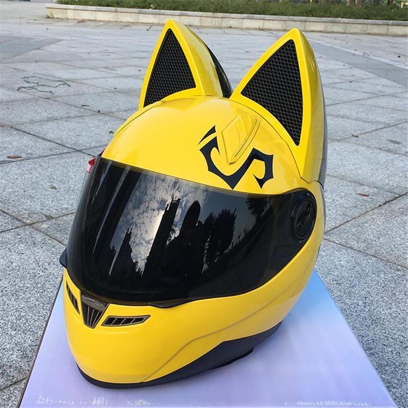 Nitrinos Kedi Kulak Motosiklet Kask Cross-Country Erkek ve Kadın Yarış Kask Dört Mevsim Anti-Sis Hepsinde Kedi Kulak Kaskı.