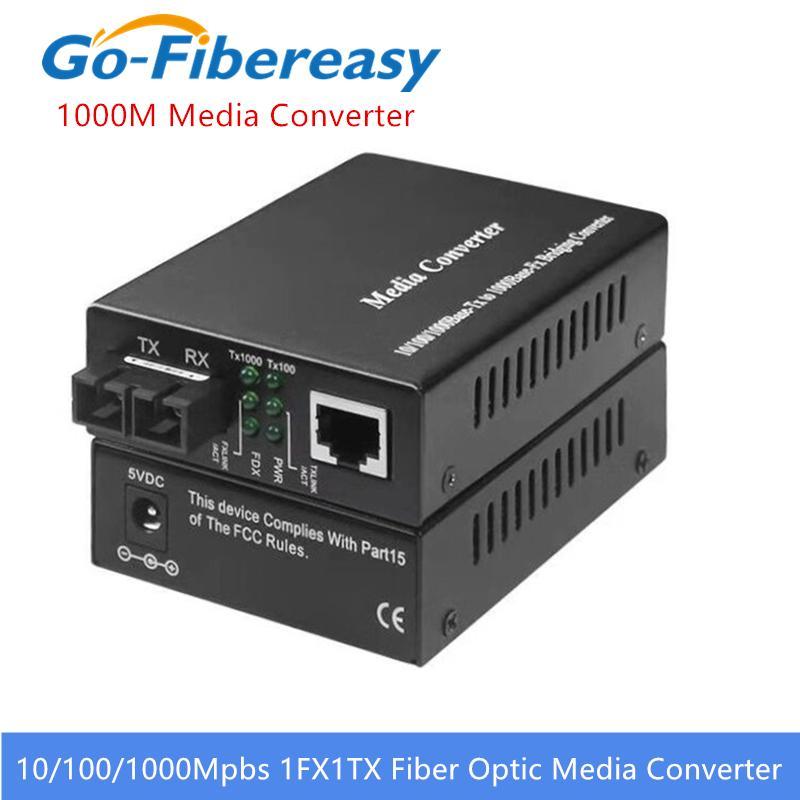 Convertisseur de supports optiques de fibre optique Gigabit 1000Mbps SC SINGLEMODE Convertisseur optique à fibre optique de 20km Gigabit Fibre optique de fibre optique