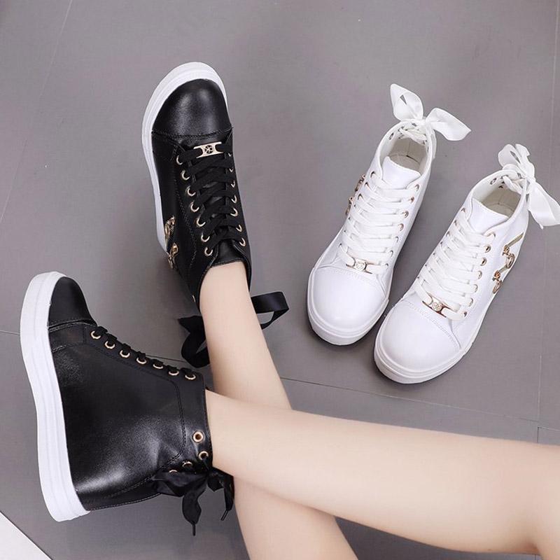 Kadın Sneakers Deri Artan Yüksekliği Rahat Ayakkabılar Beyaz Yüksek Top Platformu Ayakkabı Lace Up Eğlence Ayakkabı Zip Zapatos Mujer 8844N