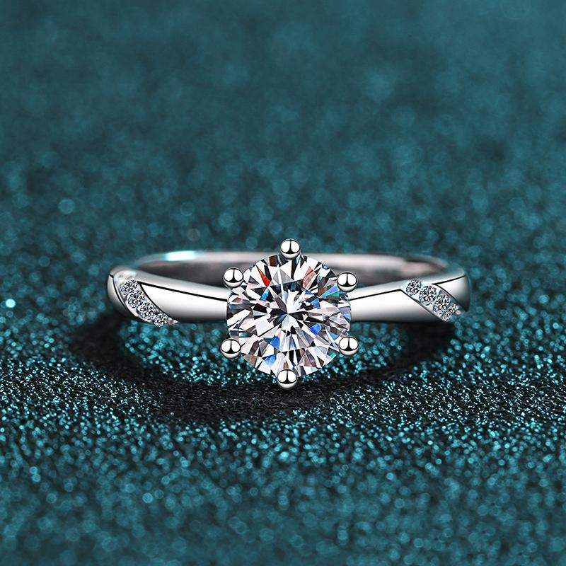 s925 sterling silver diamond ring female 1 carat simulation moissanite genuine counter wedding birthday gift
