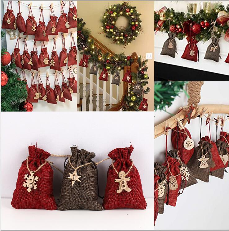 Christmas Linen Bags Pary Suppliers Drawstrings Candy Burlap Bag Treat Pouches with Wooden Board Ropes Favors for DIY Craft