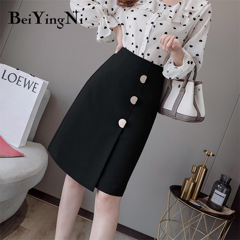 Senhoras de escritório vintage de biiyingni saias senhoras botons Uma linha joelho-comprimento elegante saia mulheres cintura alta jupe femme split fundos 210315