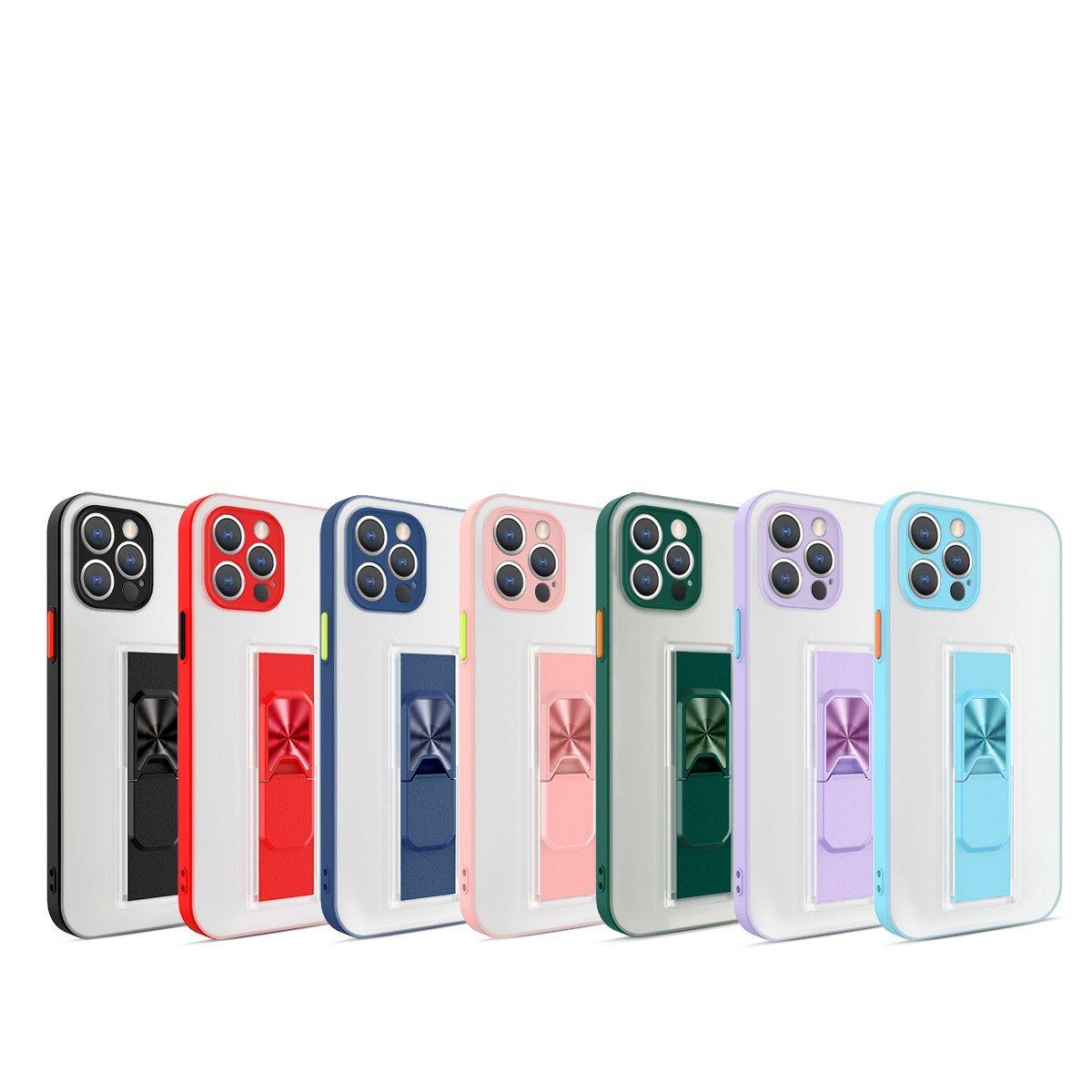 Parlak Renk Telefon Kılıfları Cilt Duygu Görünmez Braketi Anti Güz Mobil Kılıf Iphone 7P 8 P 11Promax 12mini 12 XR XSMAX için Uygun
