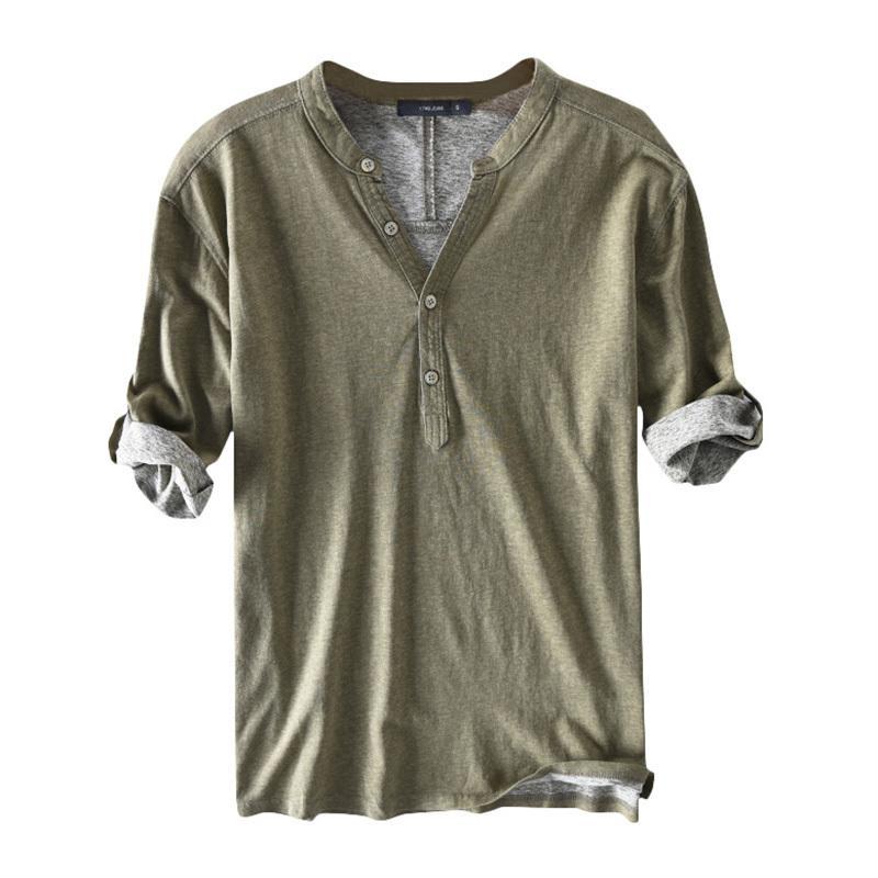 Высокие коренные рубашки платье мужчины 100% хлопок половина рукава Хенли воротник V-шеи сплошной осенью повседневные рубашки Hombre Camisa мужская одежда