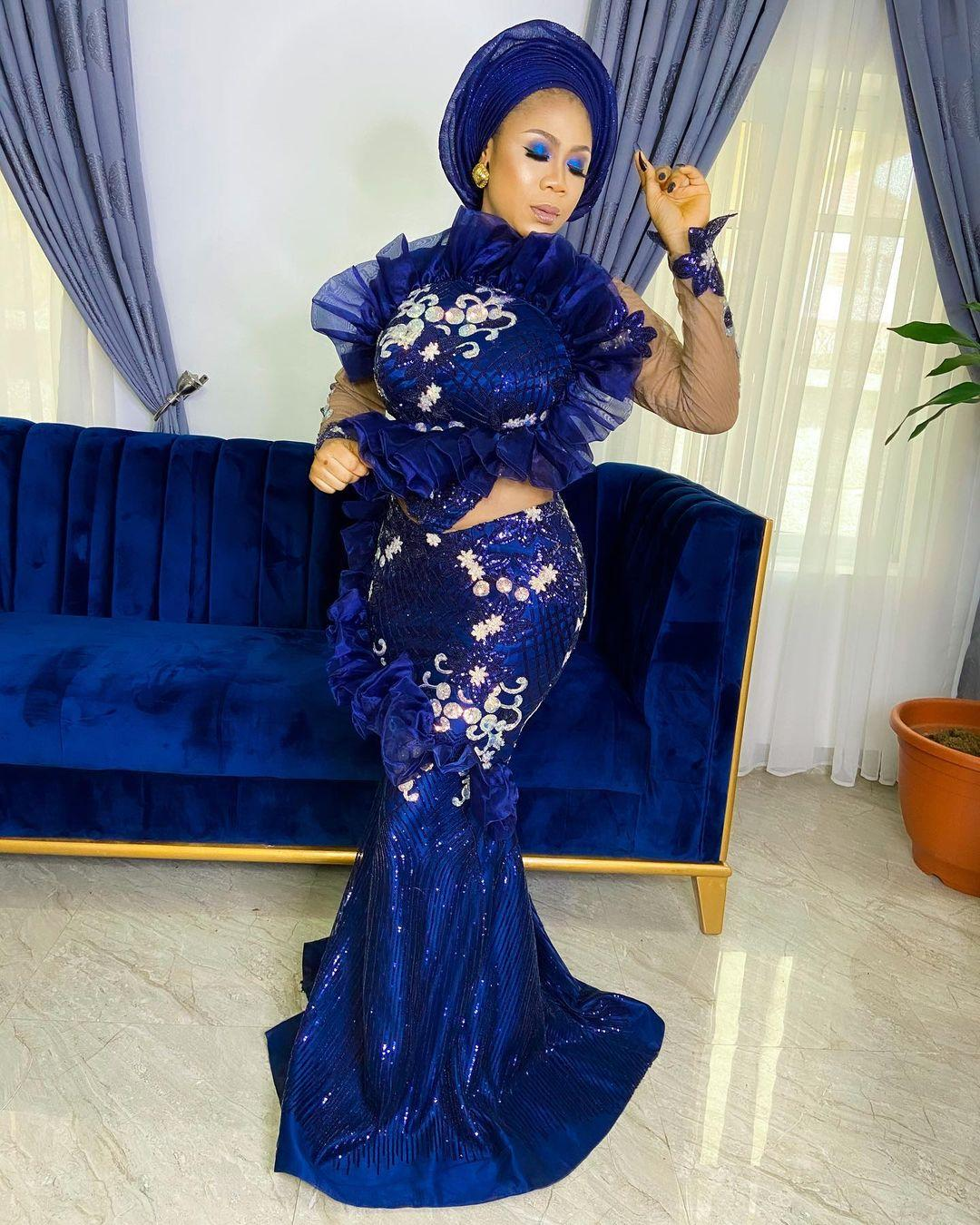 Aso Ebi 2021 Arabic Royal Blue Mermaid Evening Dresses Lace Sexy Prom Dresses Long Sleeves Formal Party Second Reception Gowns ZJ466