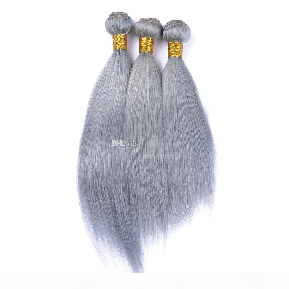 Щепка серые прямые волосы пучки девственные человеческие перуанские волосы наращивания волос шелк прямые серые пакеты 3шт много двойных уток салонов волос