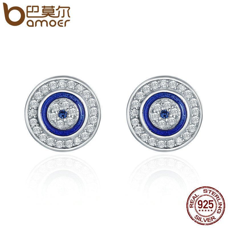 Bamoer Sıcak Satış Otantik 925 Ayar Gümüş Mavi Göz Yuvarlak Saplama Küpe Kadınlar Için Moda Gümüş Takı SCE148 210312