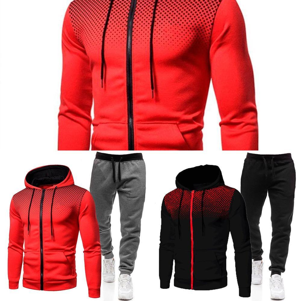 2021 Reißverschluss Hoodie + Hosen Zweiteiler Herren Herbst und Winteranzug Casual Sportswear Herren Sportswear Marke Sportswear X0601