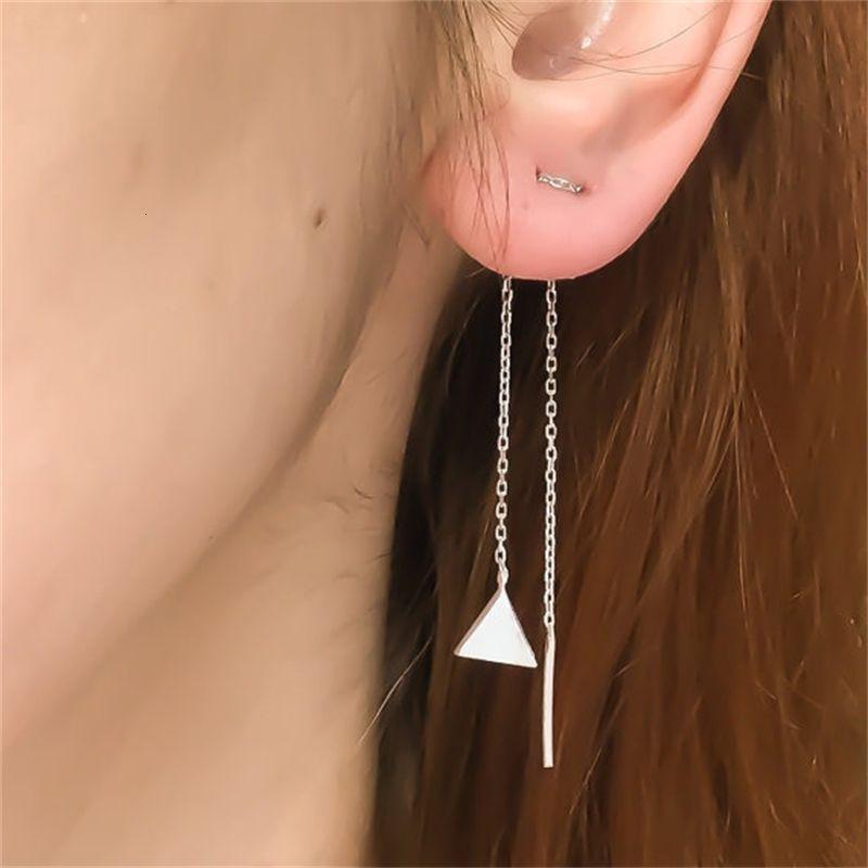 Yeni Geometrik Üçgen Püskül Zincir Küpe B1260
