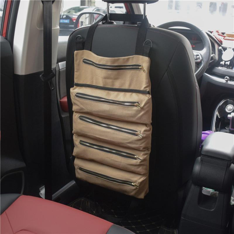 Auto Organizer Abnehmbare Sitznachbeutel Faltbare Werkzeug Roll Up Canvas Eimer Hängende Beutel Handy Innenzubehör