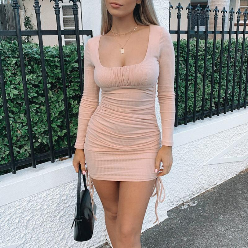 Casual Dresses Women's Sexy Bodycon Short Long Sleeve Ruched Side Drawstring Pencil Mini Dress Party Club Clothes