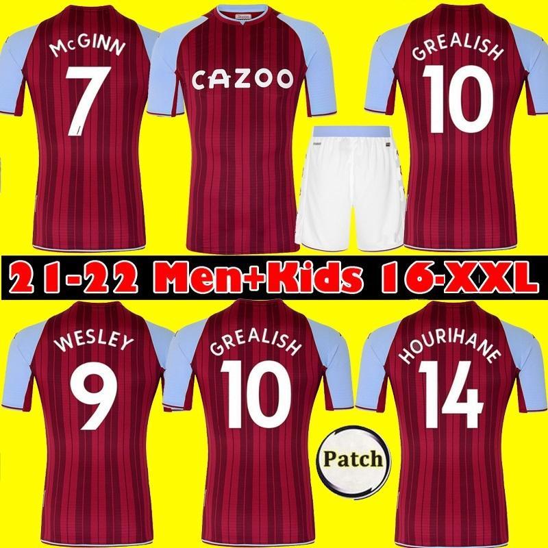 21 22 Aston Soccer Jersey Grealish M.Trezeguet Wesley El Ghazi Hourihane Douglas McGinn Barkley Villa 2021 2022 Camisas de fútbol para el hogar Man + Kids