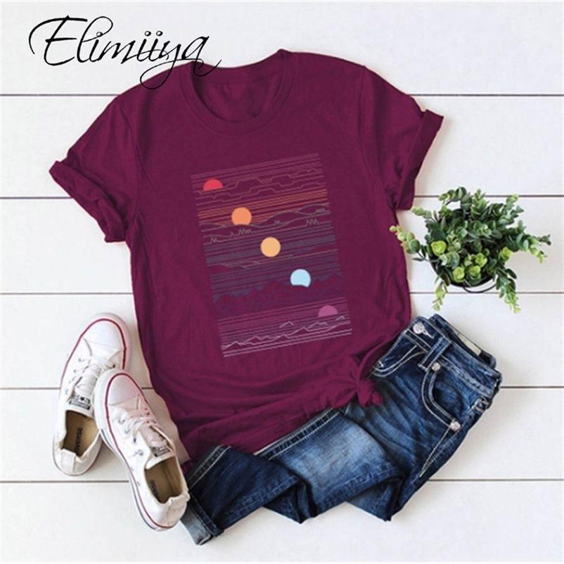 ELIIIYA Abstrait T-shirt Femmes T-shirt imprimé surdimensionné T-shirt à manches courtes O-Cou O-Col Vêtements Pour femmes Tops Tops Top 210304