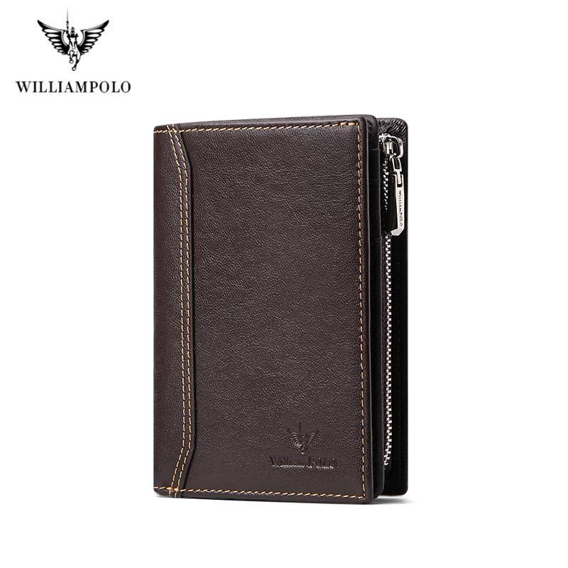 Williampolo Men Wallet Hombre Slim Holder Bifold Cuero genuino Mini Multi Card Case Slots Vegetal Tanned Cowhide