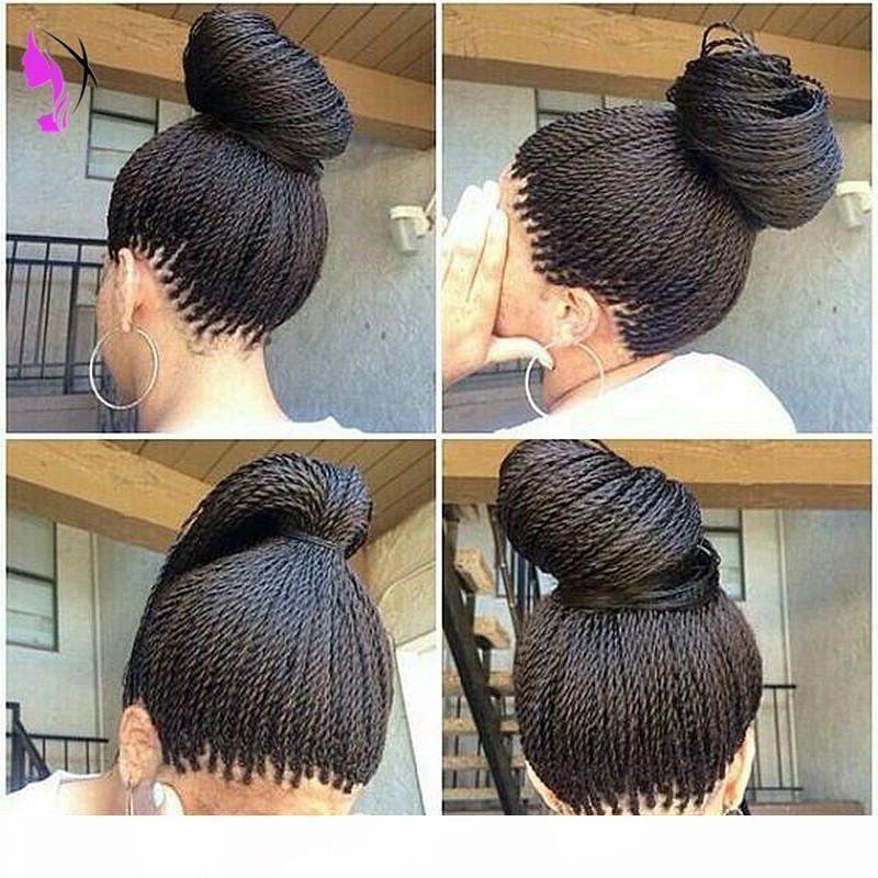 Yüksek Kaliteli Tam Senegalese 2x Büküm Örgüler Peruk Sentetik Afro Bükülmüş Saç Isıya Dayanıklı Örgü Dantel Ön Peruk Siyah Kadınlar için