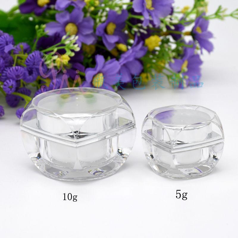 Nuevo recipiente de acrílico de plástico transparente vacío contenedores cosméticos 5 10 gramos Tamaño de la olla tarros de sombra de ojos Contenedor Herramientas de maquillaje 100pcs / lot