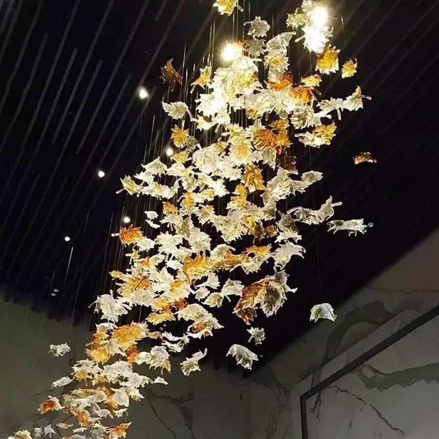 무라노 유리 펜던트 조명 램프 메이플 리프 이탈리아 디자이너 호텔 프로젝트 샹들리에 램프 아트 장식에 대 한 조명 앰버 맑은 색상