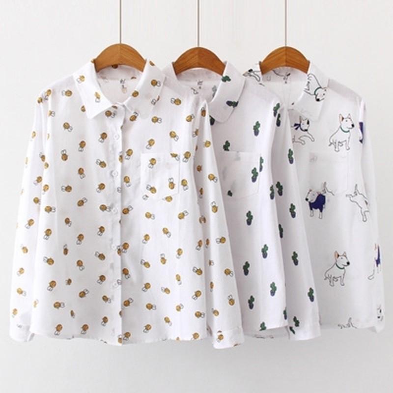 Mulheres Blusas Dos Desenhos Animados Dog Bee Imprimir Tops Feminino Manga Longa Plus Size 2XL 3XL Camisas Senhoras Roupas De Algodão Moda Mulheres Camisas 210315