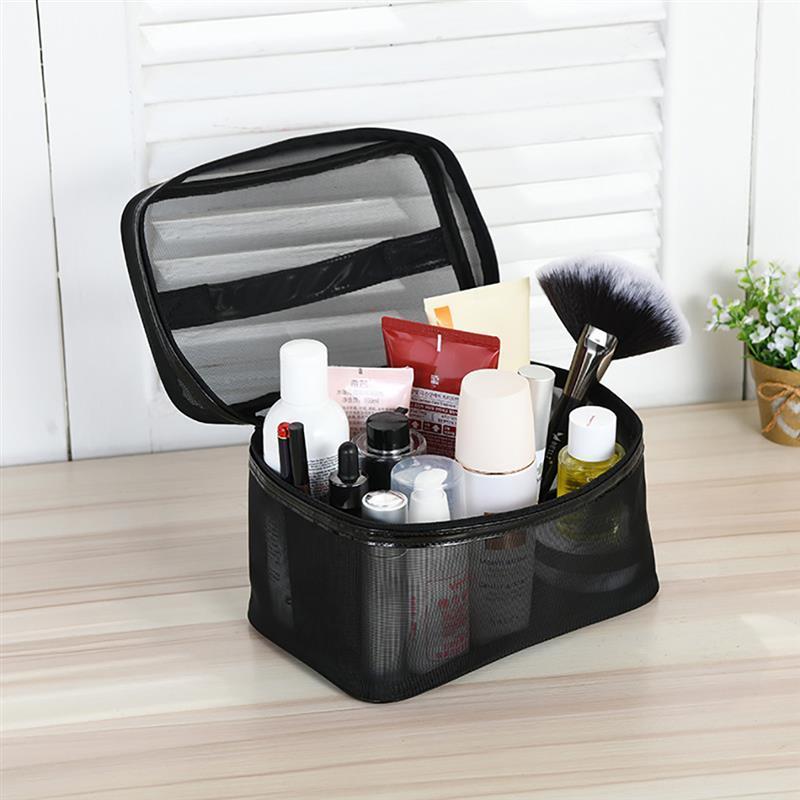 1 stücke frauen männer notwendig Tragbare kosmetische tasche transparent reisen organizer mode große schwarze touppy taschen make-up