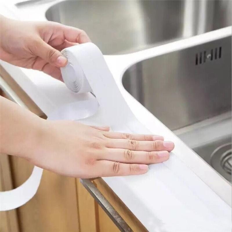 3.2mx38mm Selbst-PVC-Waschbecken-Bad-Siegelweiß-Band-Streifen wasserdichtes Badezimmer Badezimmer Duschwand-Küchenkleber-Aufkleber