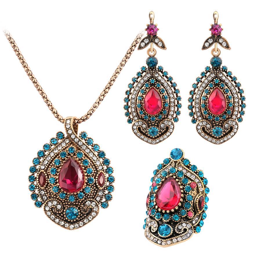 3 unids collares vintage Joyas conjuntos de joyas para mujeres antigüedades oro rosa cristal boda fiesta aretes collar anillo hembra joyería turca