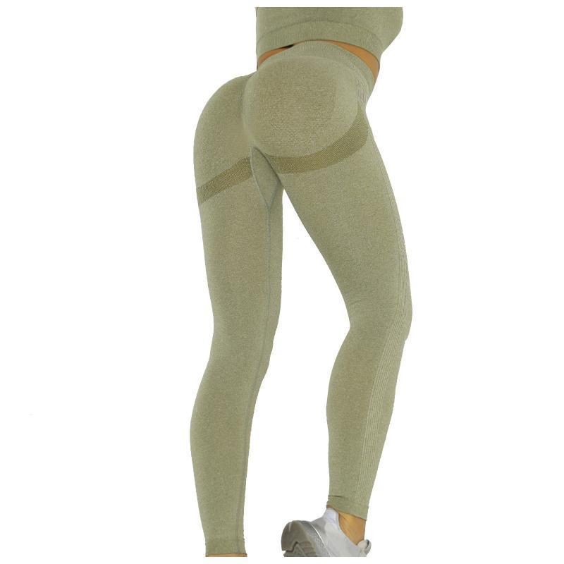 Frauen reine Farbe Hüftheben Sport Fitness Laufen High-Taille Yoga Hosen Energie Nahtlose Leggings Gym Mädchen Leggins Hohe Taille Outfit
