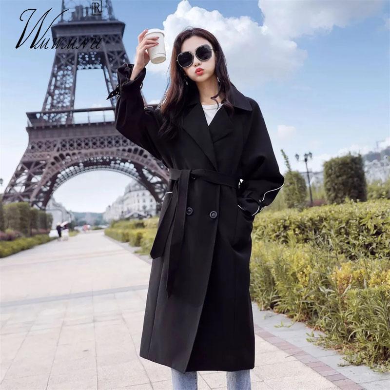 Garancha de mujer Abrigos elegantes Moda Negro Fashes Abrigo Mujeres Estilo Coreano Casual Chaqueta suelta Chic Designer Oficina Doble Breasted Water