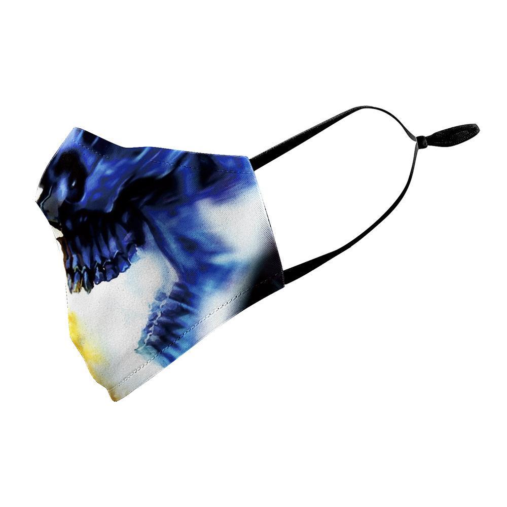 Cráneo clásico Impresión digital Mascarillas de cara Protección de 5 capas Filtro sintético a prueba de polvo Máscara anti-neblina lavable PM2.5